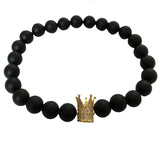 Royal™ - Stacked Crown Bracelets (Onyx & Howlite)