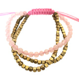 Rose Quartz - Brass Triple Stack