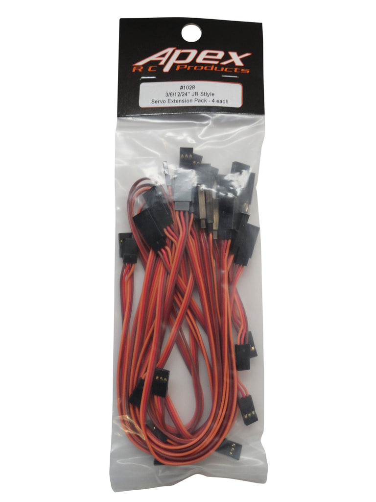 Apex Rc Products 3 U0026quot  6 U0026quot  12 U0026quot  24 U0026quot  Jr Style Servo Extension Variety Pack