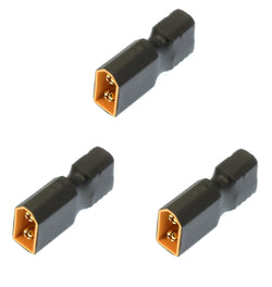Apex RC Products No Wire Female Ultra T Plug (Deans Style) -> Male XT60 Adapter - 3 Pack #1253