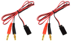 Apex RC Products Futaba Style Receiver Plug -> 4mm Banana Plug Charge Lead - 2 Pack #1420
