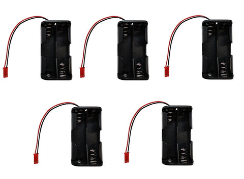 Apex RC Products 4 Cell AA Battery Holder W/ JST Connector Receiver Battery Pack - 5 Pack #2930