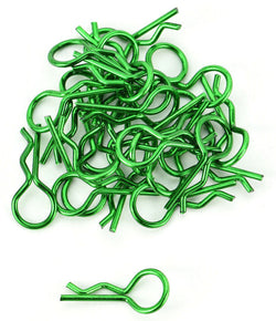 Apex RC Products Green 1/10 Large Bent RC Anodized Body Clips - 25pcs #4031GR