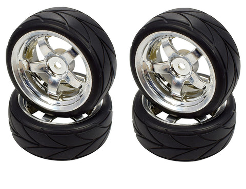Apex RC Products 1/10 On-Road Chrome 5 Spoke Wheels & V Tread Rubber Tire Set #5005