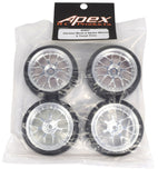 Apex RC Products 1/10 On-Road Chrome Mesh Wheels & V Tread Rubber Tire Set #5007