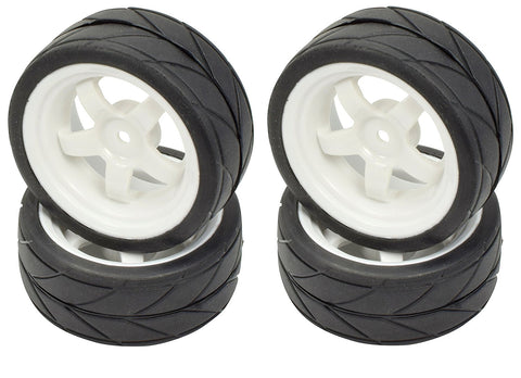 Apex RC Products 1/10 On-Road White 5 Spoke Wheels & V Tread Rubber Tire Set #5015