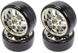 Apex RC Products 1/10 On-Road Chrome Mesh Wheels & Drift Tire Set #5032
