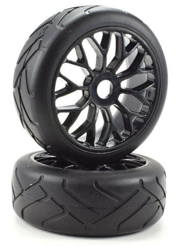 Apex RC Products 1/8 On-Road Black Mesh Wheels & Super Grip Tire Set #6020