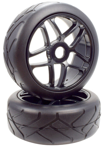 Apex RC Products 1/8 On-Road Black Star Wheels & Super Grip Tire Set #6021
