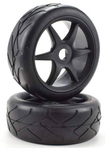 Apex RC Products 1/8 On-Road Black 6 Spoke Wheels & Super Grip Tire Set #6023