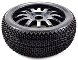 Apex RC Products 1/8 Off-Road Black Diamond Wheels & Nubby Tire Set #6035