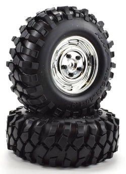 "Apex RC Products 1.9"" Chrome ""K1"" Wheels + 108mm ""Muncher"" Crawler Tires #6151"