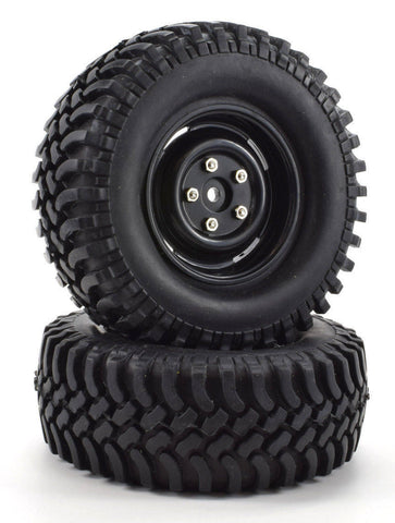 "Apex RC Products 1.9"" Black ""5 Lug"" Wheels + 100mm ""Grinder"" Crawler Tires #6160"