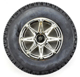 Apex RC Products 1/10 Short Course Off-Road Chrome 8 Spoke Wheels & Bobcat Tire Set #6200