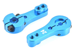 Apex RC Products 24T Hitec Blue Aluminum Dual Clamping Servo Horn - 2 Pack #8009