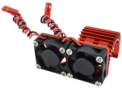 Apex RC Products 540 / 550 Red Aluminum Heat Sink W/ Two 30mm Fans #8042-RD