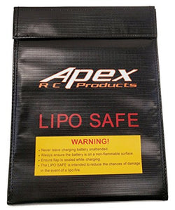 Apex RC Products 230mm X 300mm Jumbo Lipo Safe Fire Resistant Charging Bag #8080