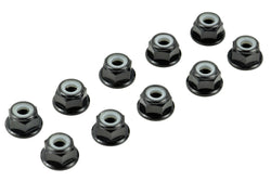 Apex RC Products Black 4mm Aluminum Serrated Nylon Locknut Wheel Nut Set #9800