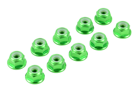 Apex RC Products Green 4mm Aluminum Serrated Nylon Locknut Wheel Nut Set #9802