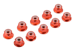 Apex RC Products Red 4mm Aluminum Serrated Nylon Locknut Wheel Nut Set #9804