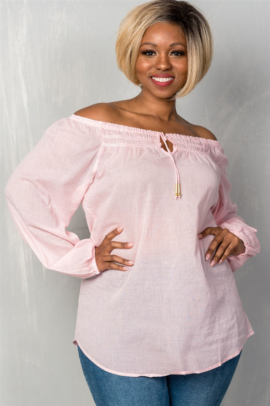 off the shoulder tie blouse