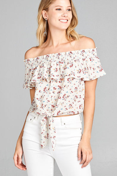 off the shoulder floral print