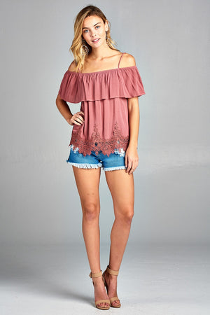 dusty rose off the shoulder shirt