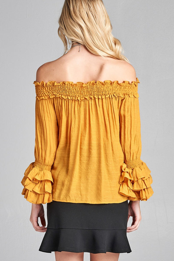 sunflower yellow top with ruffled neckline