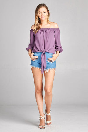 dusty purple off the shoulder top