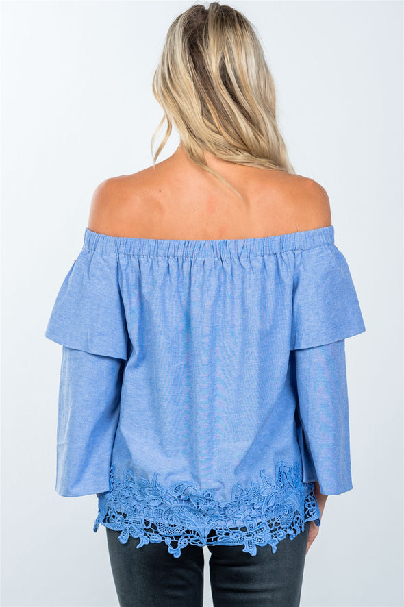 off the shoulder crochet blouse