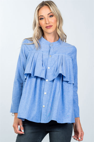 Blue pleated button down