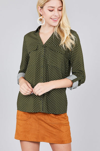 olive speckled top