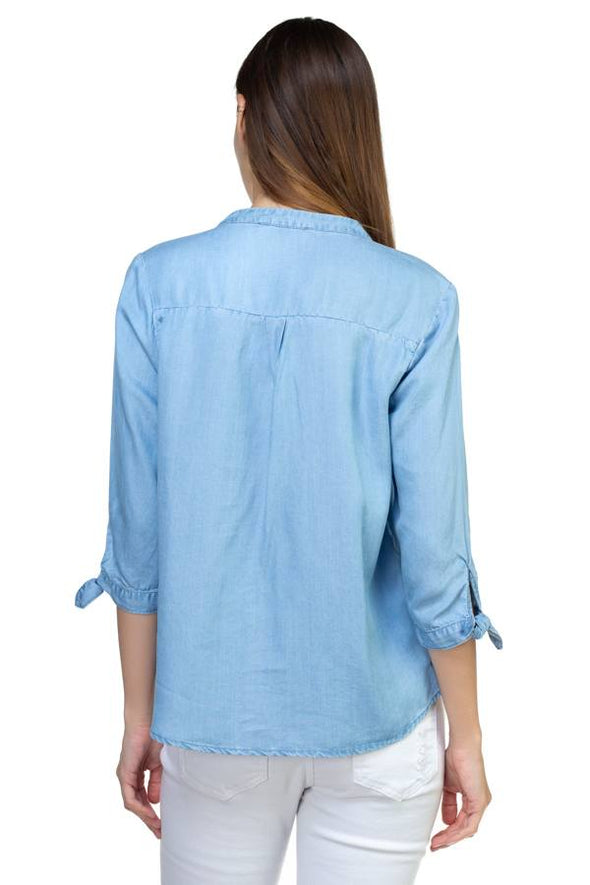 blue faux denim shirt with tie sleeves