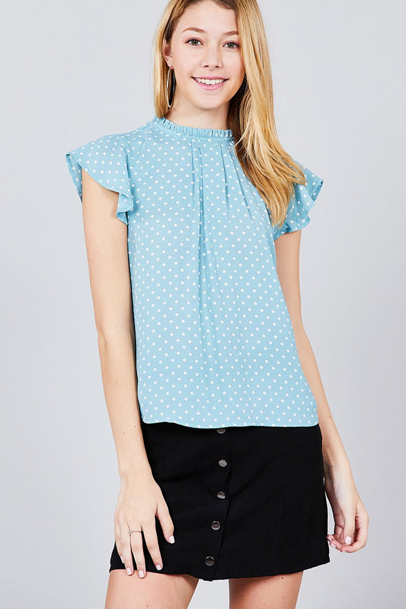 blue pokka dot top