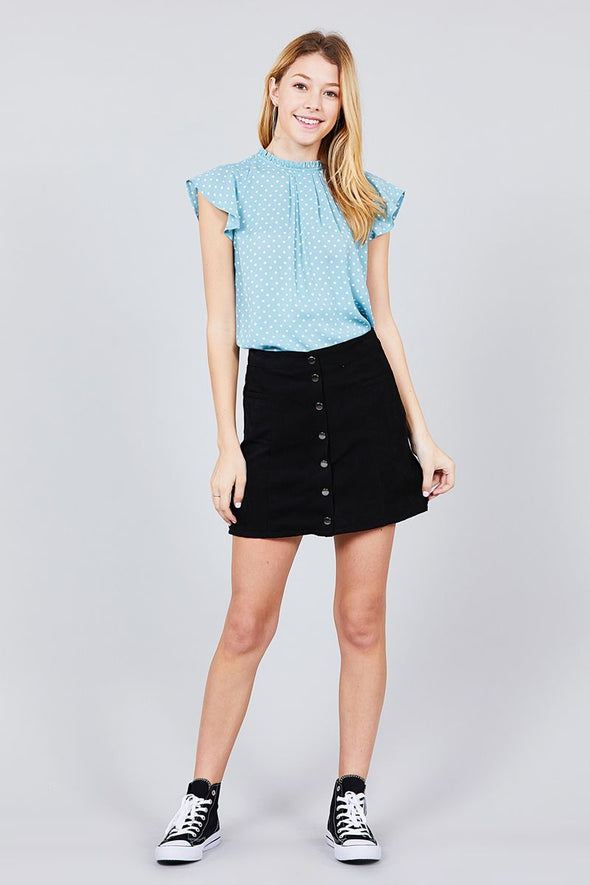polka dot high neck shirt