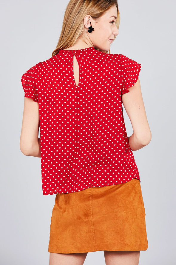 high neck coral shirt