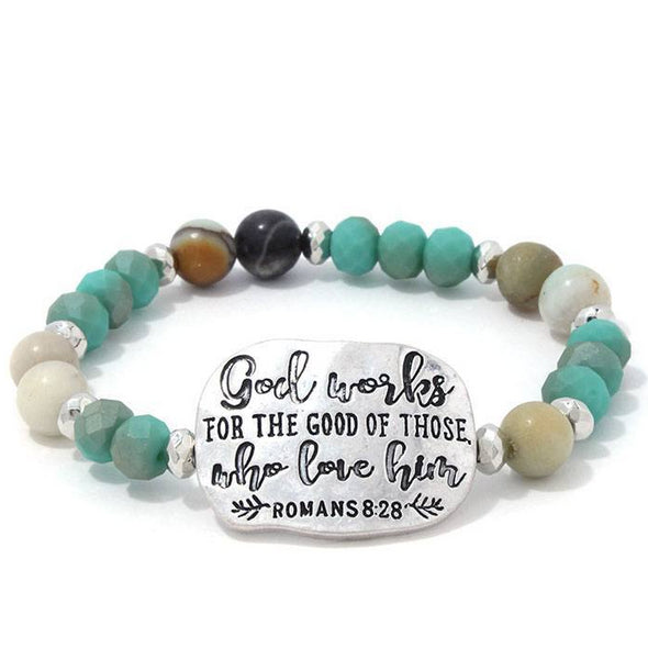 Romans 8:28 Beaded Stretch Bracelet