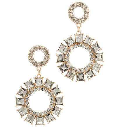 gold and silver double circle earring
