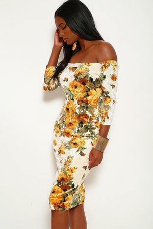 yellow flower dress off the shoulder