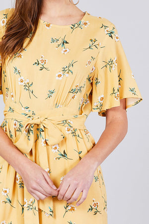bell sleeves yellow romper with belt