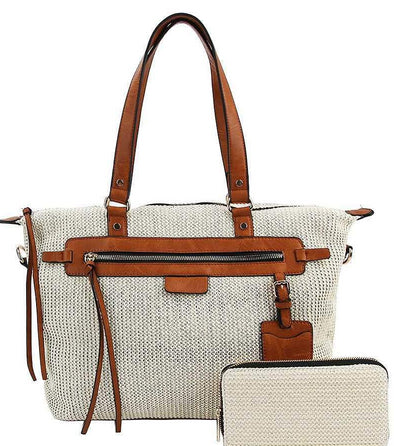2in1 Canvas Satchel With Matching Wallet