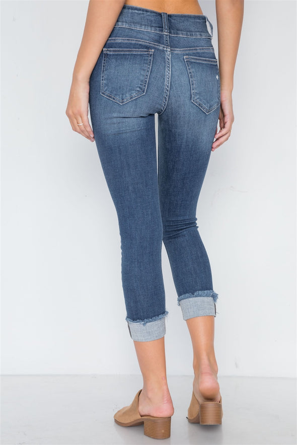 jean capris dark washed