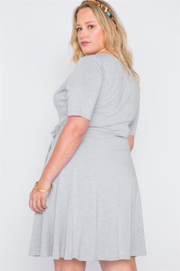 Katrina - Heather Gray Wrap Dress