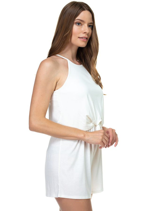 sleeveless romper with high neck