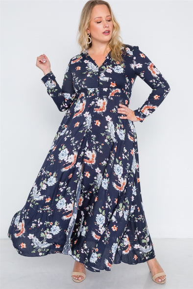 Denise - Floral Print Button Down Maxi Dress