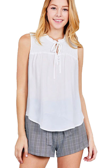 Emery - Ruffle Neck Smocked Woven Top