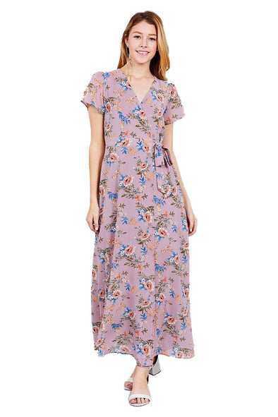 Leah - Floral Wrap Maxi Dress
