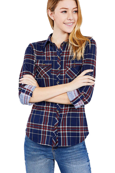 Jillian - 3/4 Sleeve Plaid Shirt
