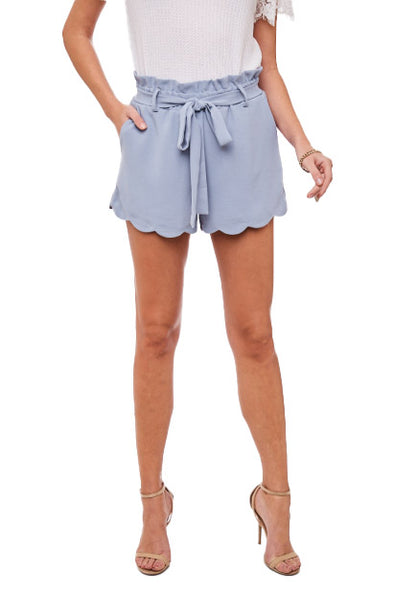 Tati - Periwinkle Scalloped Shorts