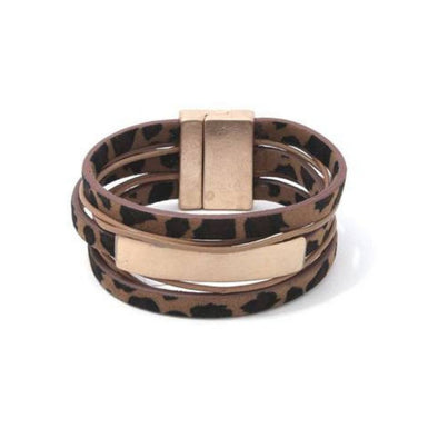 animal print leather layered bracelet